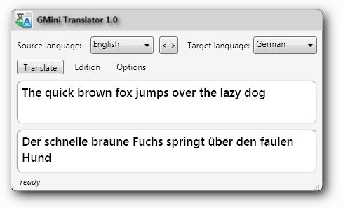 GMini translator main window