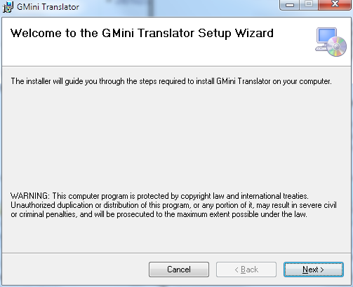GMini Translator Setup