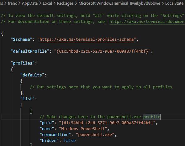 VSCode Windows Terminal settings