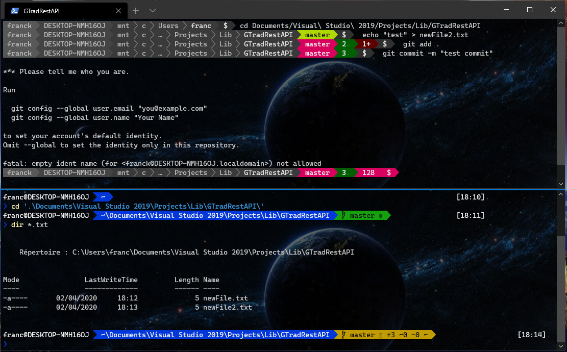 prompt showing statuses gits, ubuntu at the top and powershell at the bottom